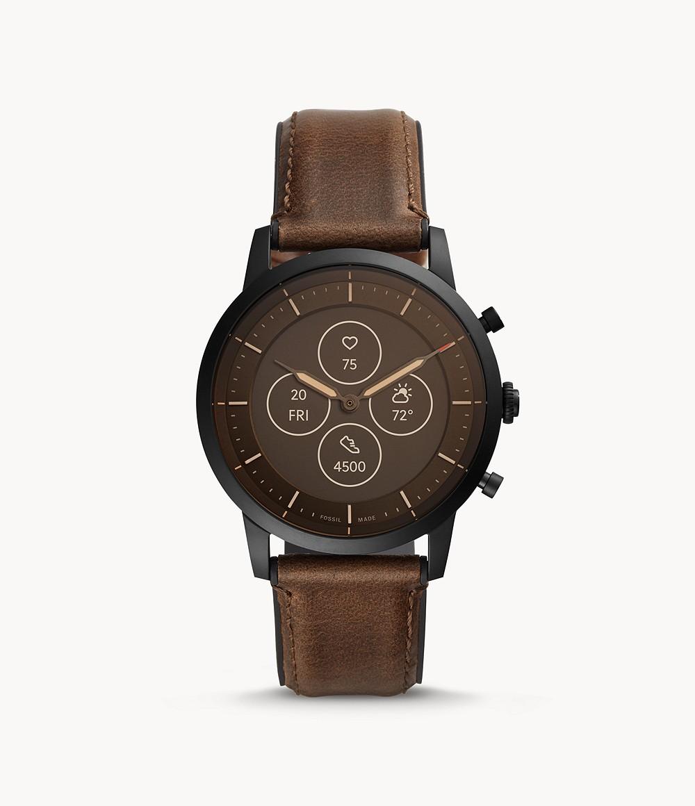Fossil Men's Hybrid Smartwatch HR Collider Dark Brown Leather FTW7008