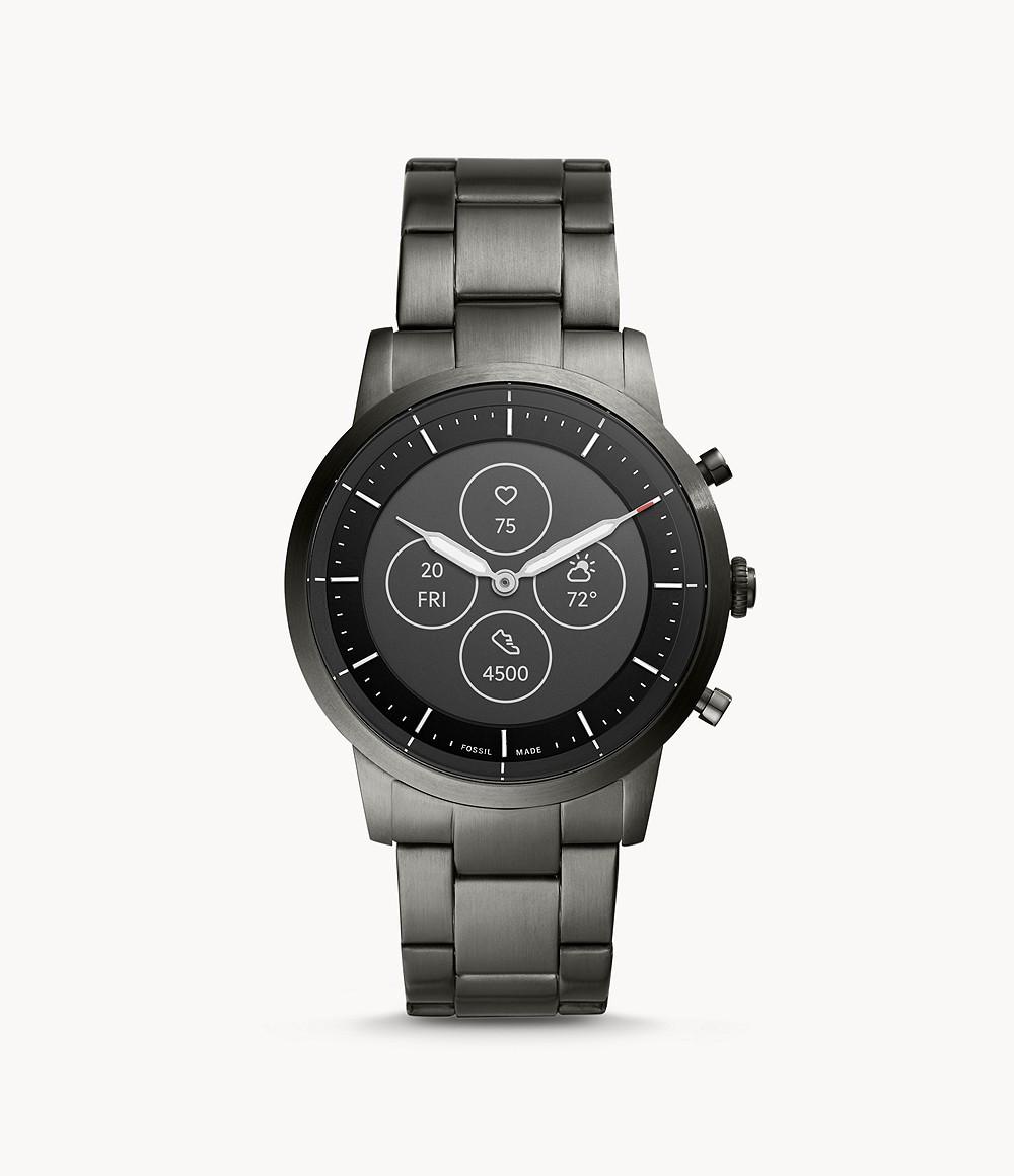 Fossil Men's Hybrid Smartwatch HR Collider Smoke Stainless Steel FTW7009