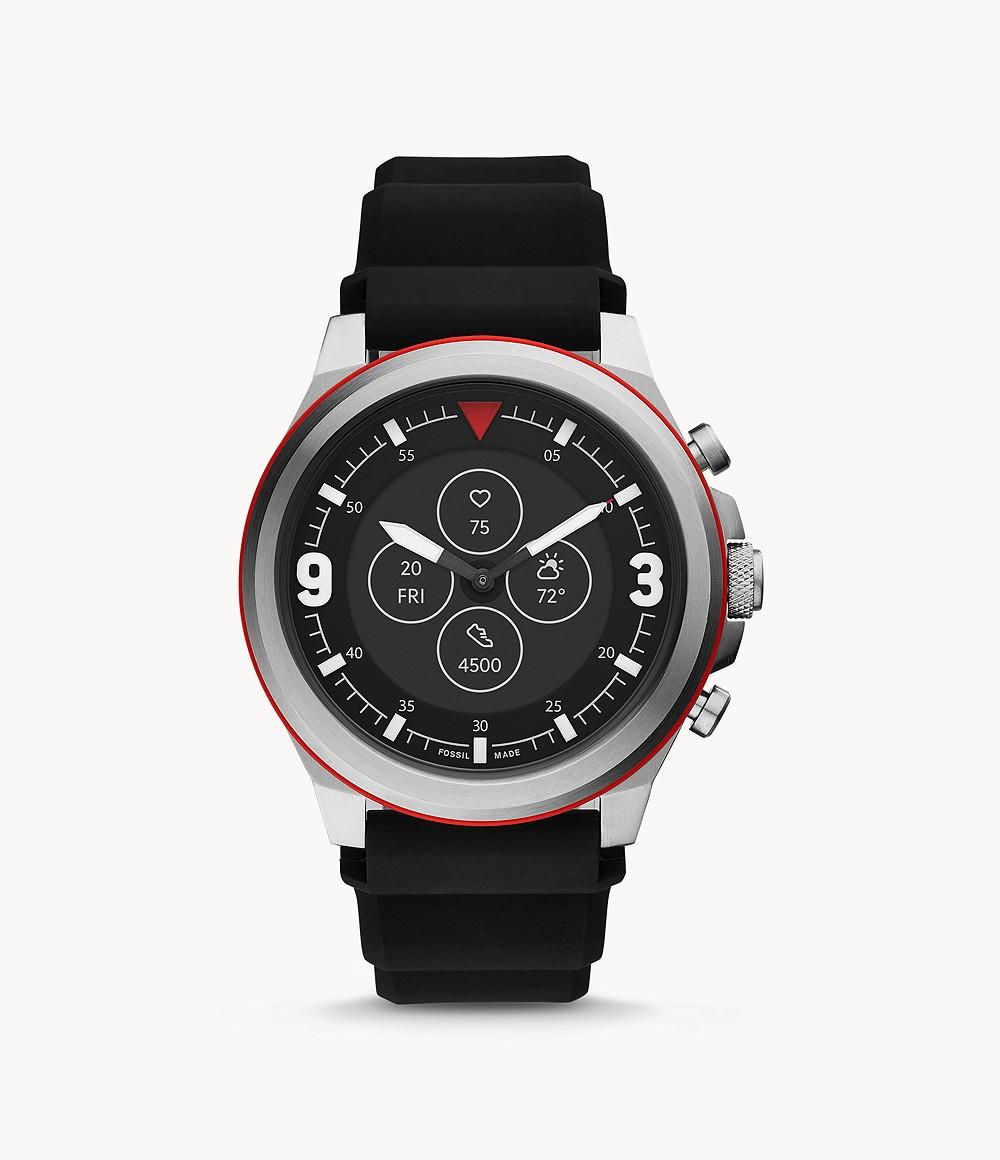 Fossil Men's Hybrid Smartwatch HR Latitude Black Silicone FTW7020