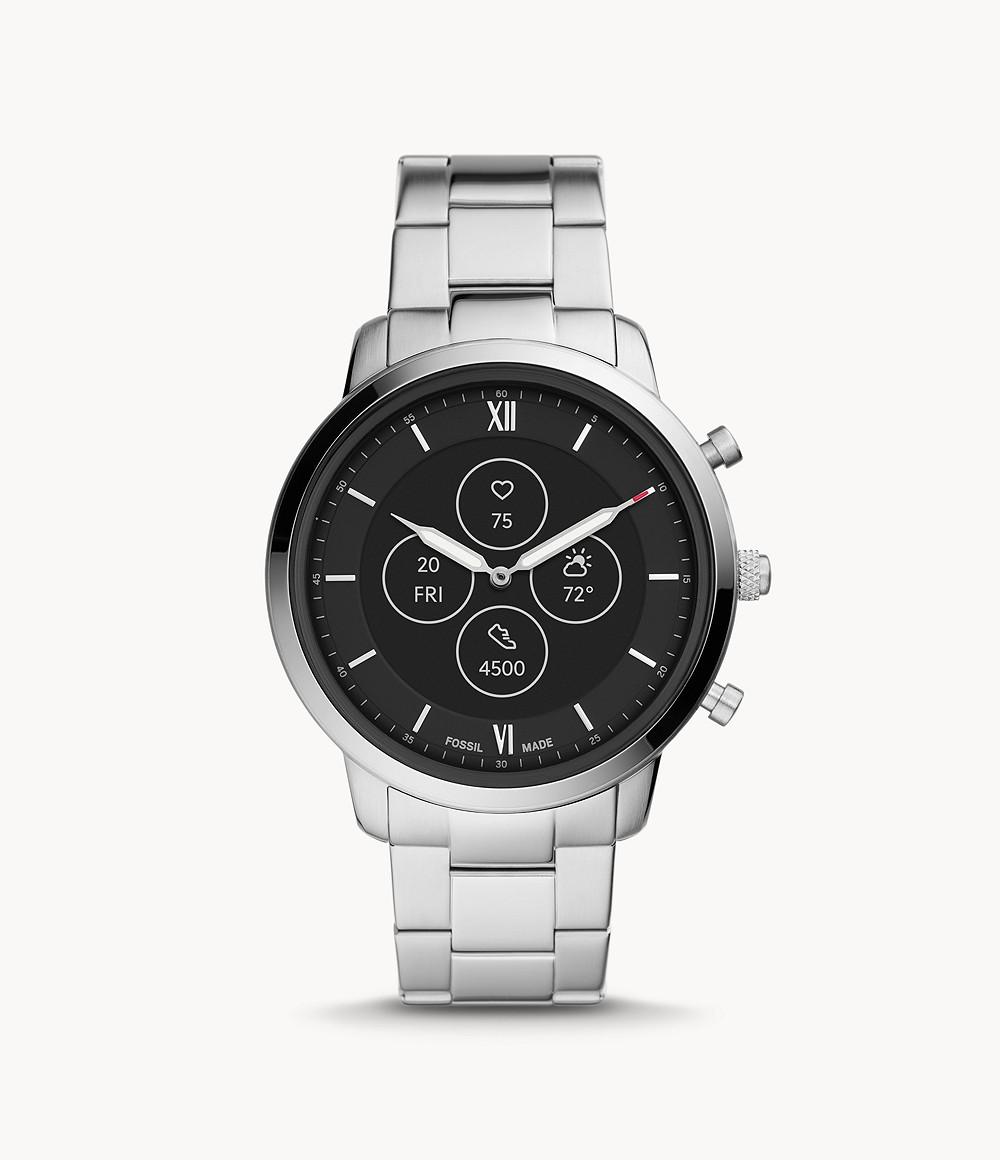 Fossil Men's Hybrid Smartwatch HR Neutra Stainless Steel FTW7029