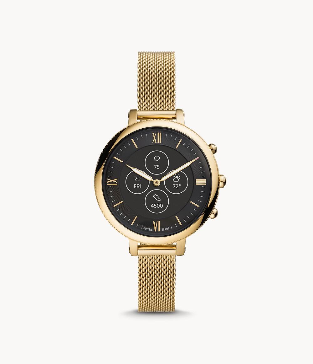 Fossil Women's Hybrid Smartwatch HR Monroe Gold-Tone Stainless Steel FTW7038