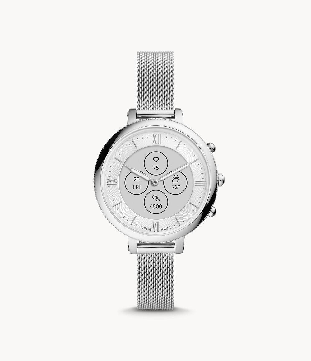 Fossil Women's Hybrid Smartwatch HR Monroe Stainless Steel FTW7040