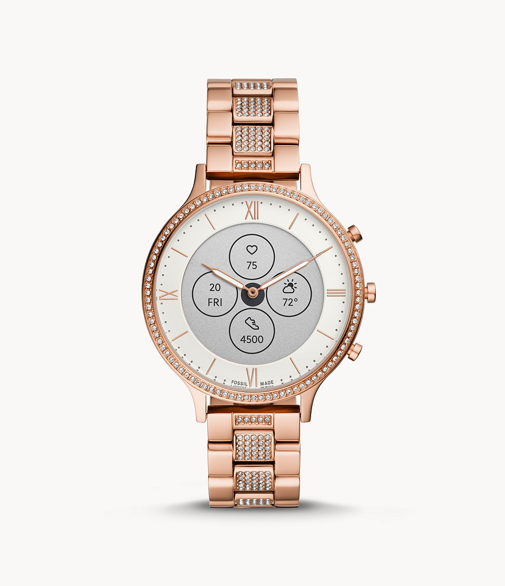 Fossil Women's Hybrid Smartwatch HR Charter Rose Gold-Tone Stainless Steel FTW7012