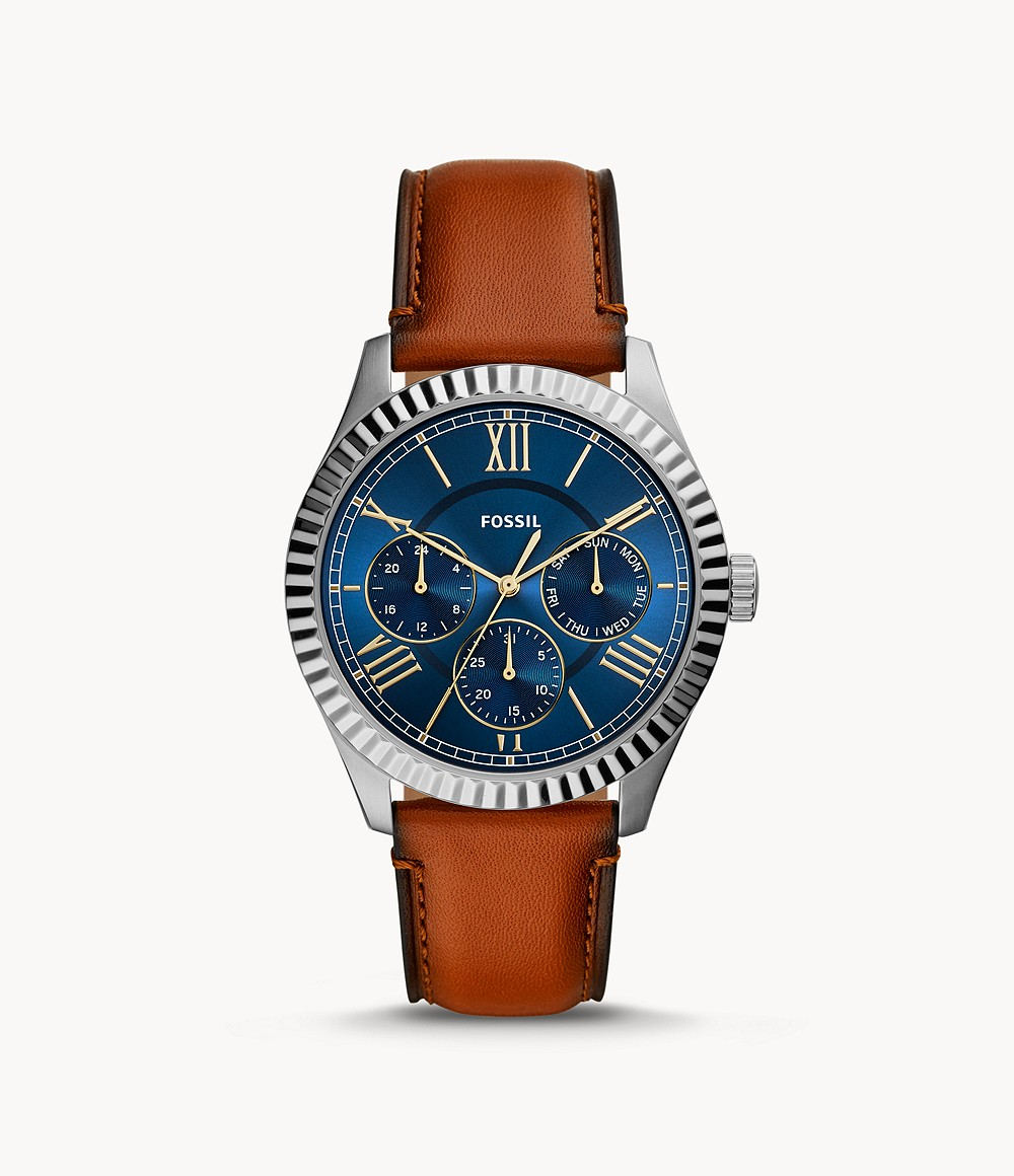 Fossil Men's Chapman Multifunction Luggage Leather Watch FS5634