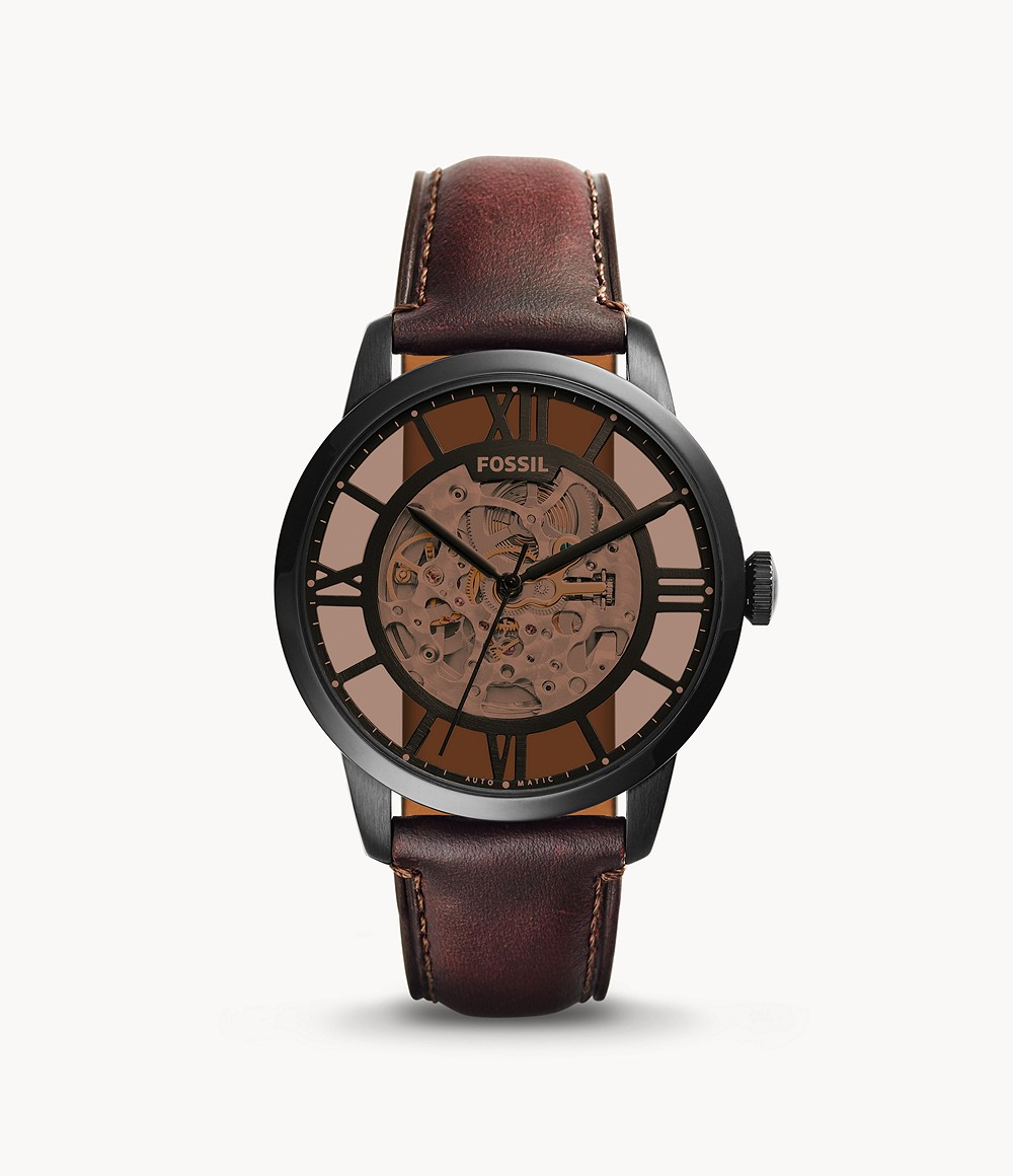 Fossil Men's Townsman Automatic Dark Brown Leather Watch ME3098