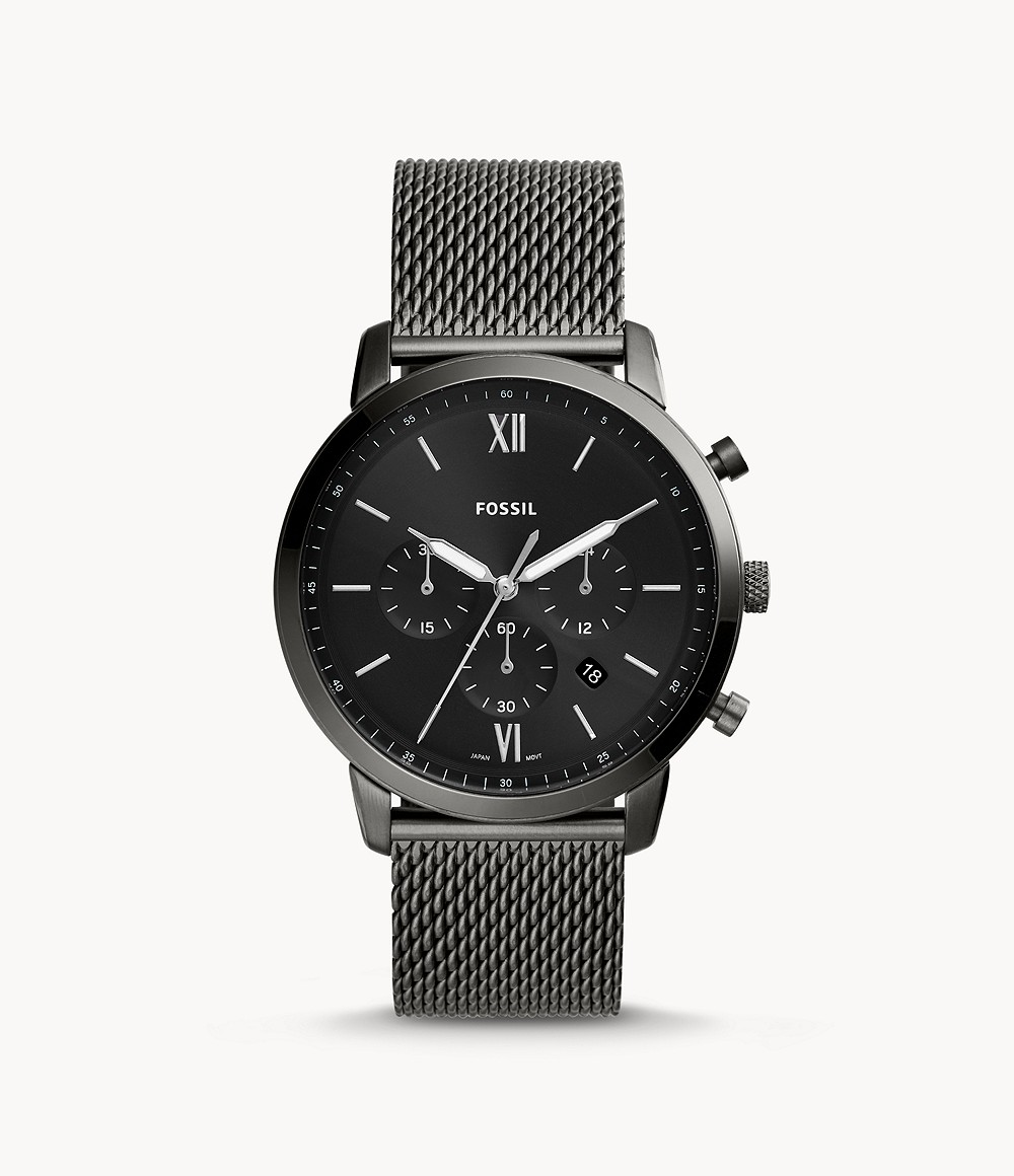 Fossil Men's Neutra Chronograph Smoke Stainless Steel Mesh Watch FS5699