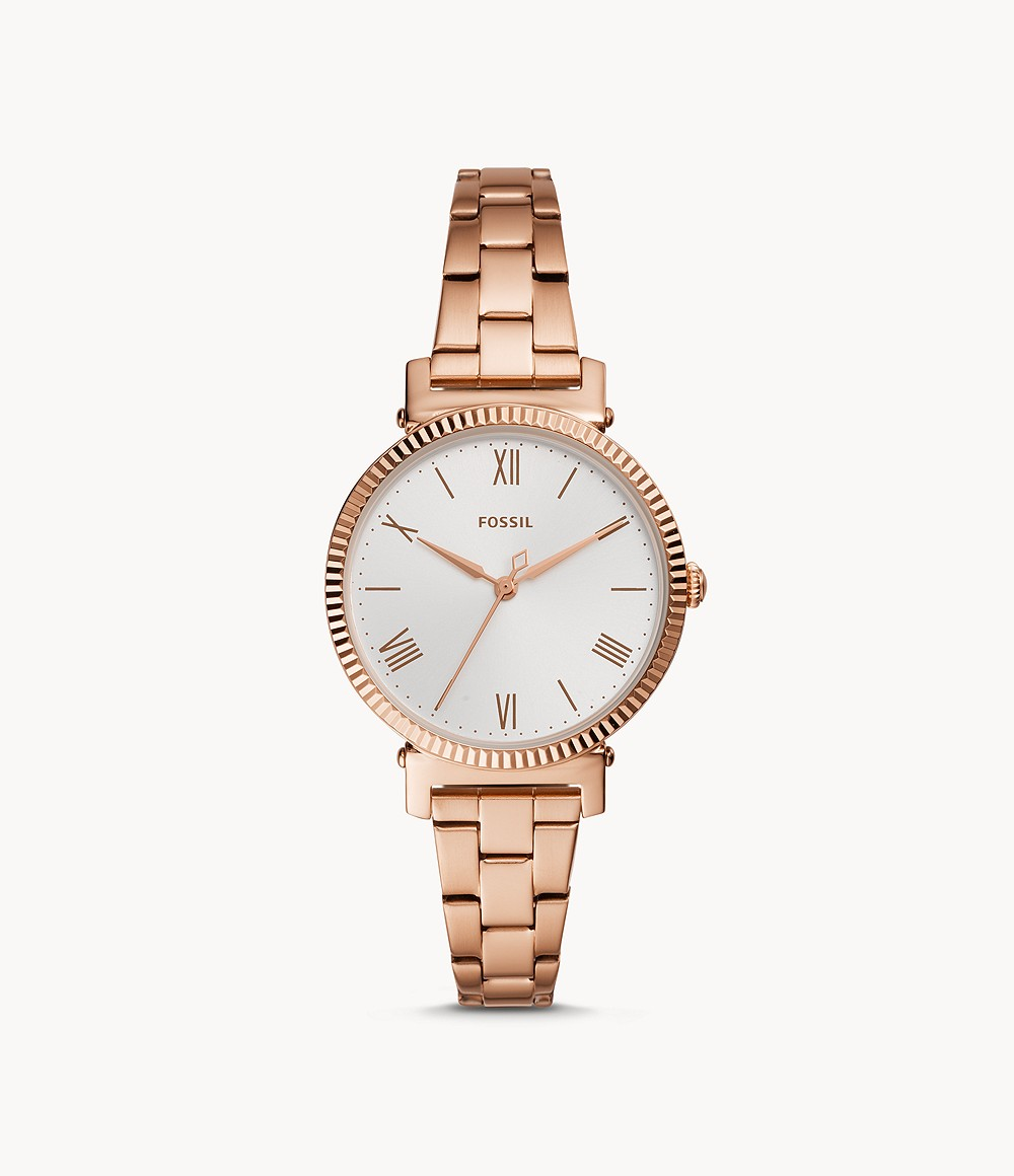 Fossil Women's Daisy Three-Hand Rose Gold-Tone Stainless Steel Watch ES4791