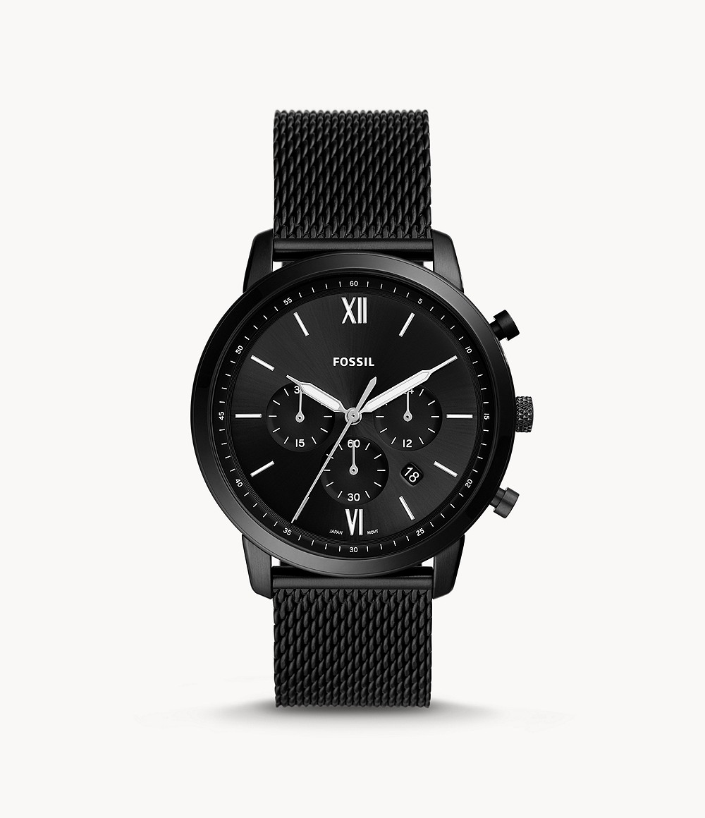 Fossil Men's Neutra Chronograph Black Stainless Steel Mesh Watch FS5707