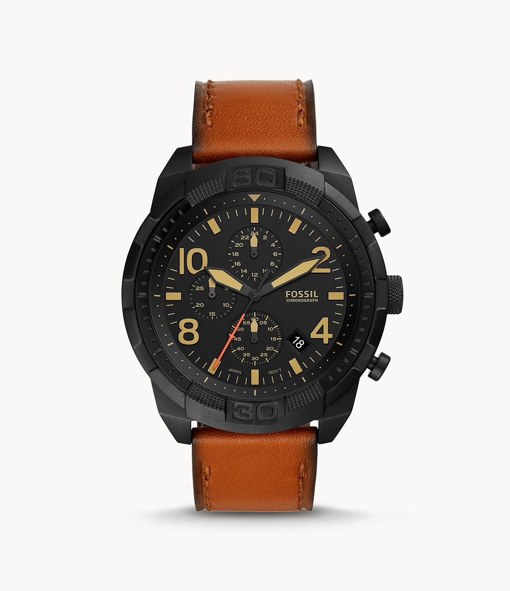 Fossil Men's Bronson Chronograph Luggage Leather Watch FS5714
