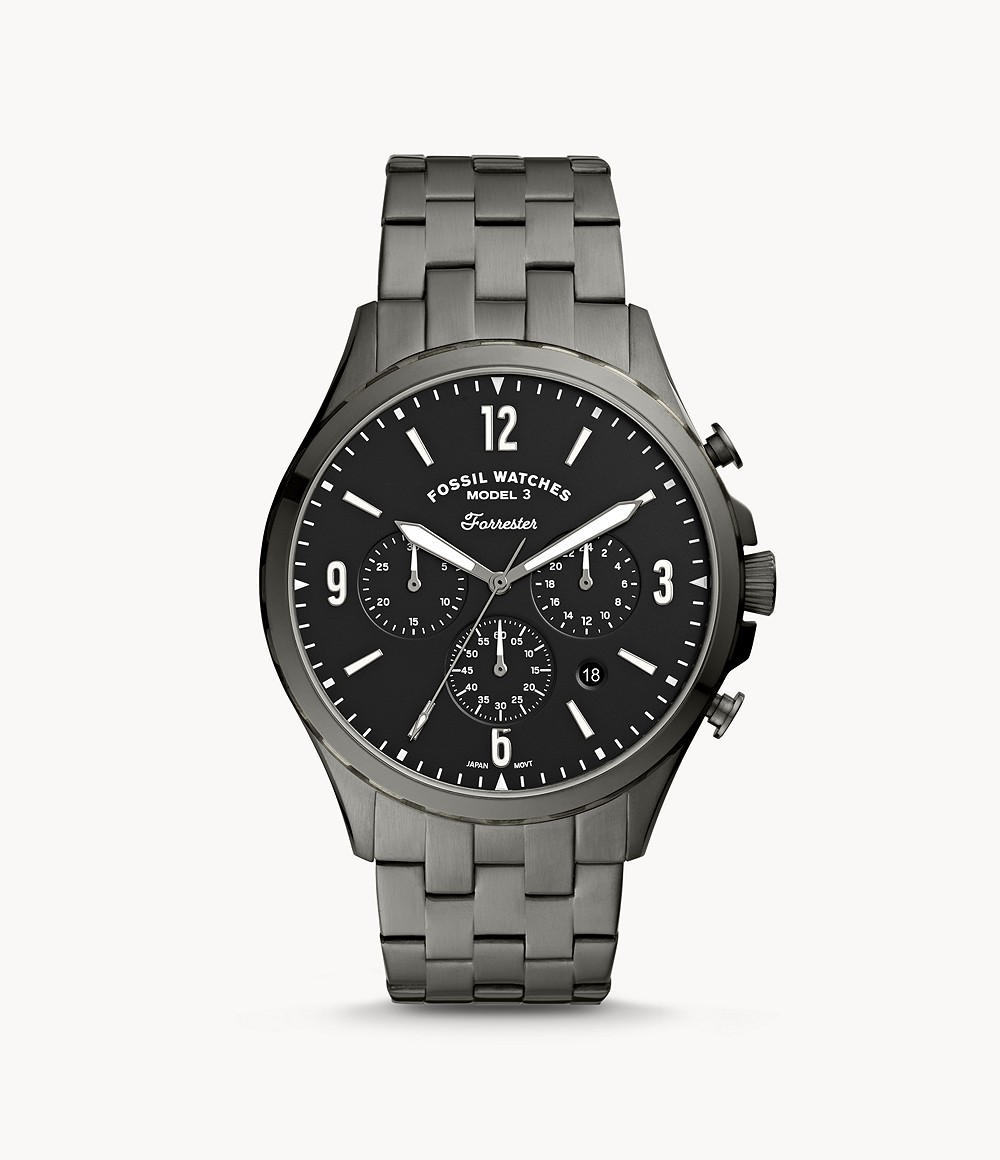 Fossil Men's Forrester Chronograph Smoke Stainless Steel Watch FS5606