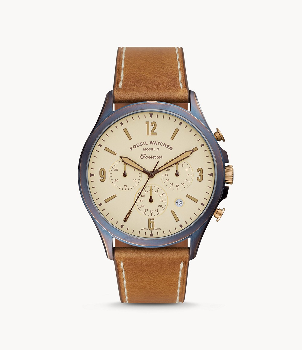 Fossil Men's Limited Edition Curator Series Forrester Chronograph Tan Leather Watch LE1109